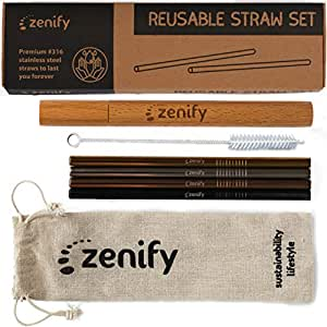 Zenify Reusable Straws Assorted Colour with 4X 8mm Metal Straw + Case + Bag + Cleaner - Eco Friendly Stainless Steel Smoothie Drinking Gift Set - Alternative to Single Use Plastic Paper Glass Bamboo