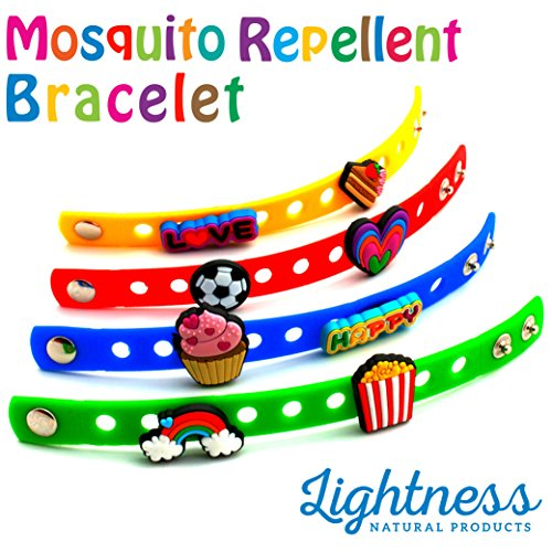 Premium Essential Oils Mosquito, and insect Repellent Charm Bracelet For Kids With 8 Fun Charms by (pack of 4). deet free and highly effective for outdoor and indoor activities