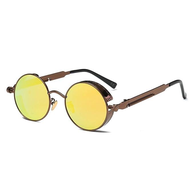 AMZTM Retro Punk Pequena Redondo Reflejado Reflexivo Amarillo Lentes Polarizadas Gafas de sol Para Mujer &