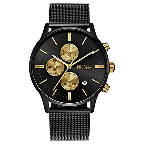 Black and Gold Men's Fashion Chronograph Quartz Analog Wrist Watch with Black Mesh Stainless Steel Band - BAOGELA ()