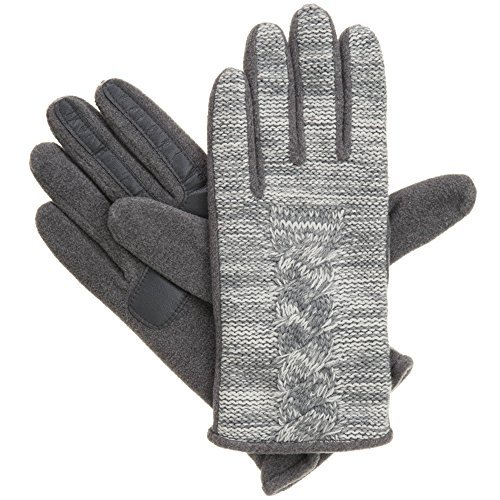 Womens Glove Signature (Isotoner Signature SmarTouch Marled Cable SmarTouch Tech Gloves (XL, Oxford Heather))
