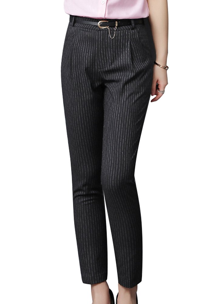 Smibra Womens Casual Comfortable Fit Pencil Pants Mid Waist Stripe Office Wear Pants