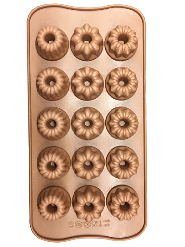 Cherion Silicone Bundt Cake Mold, 15-cavity Silicone Fancy Bundt Cake, Muffin Cups, Coffee Cake, Cupcake, Brownie and Cornbread Mold