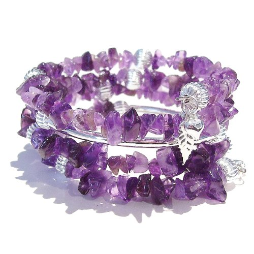 Purple Amethyst Gemstone Chip Memory Wire Wrap / Cuff Bangle