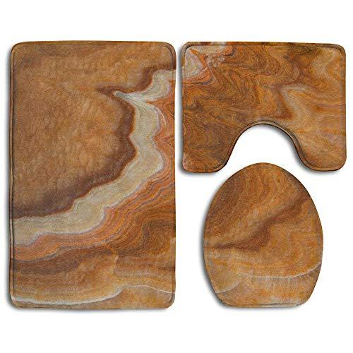 VANKINE Stone Marble Background White Non Slip 3 Piece Bathroom Rug Pedestal Rug + Lid Toilet Cover + Bath Mat Customized Artwork ()