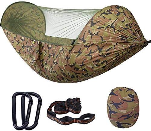 Campinghangmat met klamboe Uitklapbaar draagbaar Parachute-hangmatten voor buiten Schommel Slaaphangmat Campingbenodigdheden,Yellow