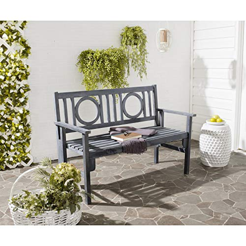Safavieh Outdoor Living Collection Piedmont Folding Bench, Ash Grey
