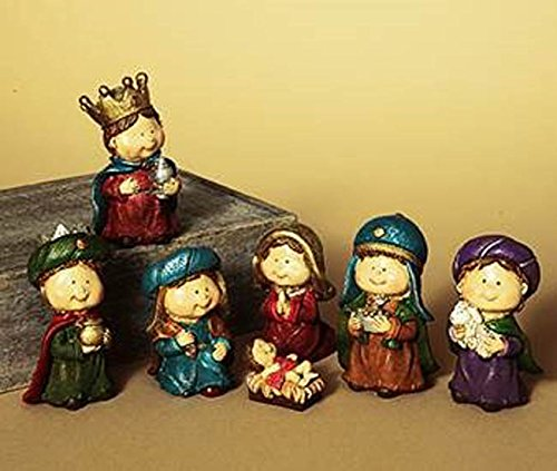 Gerson Christmas Decor - Children Child 5 inch Figurine Nativity 7pc. Set