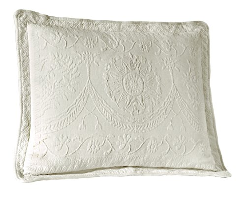 Hotel Collection Quilted Sham - Historic Charleston 13990020X026WHI King Charles Matelasse 20-Inch by 26-Inch Standard Sham, White