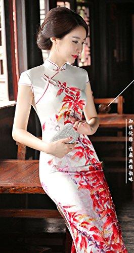 Qipao Rote Blätter Kleid Damen Chinesischen Lang Bankett für Blumendruck ACVIP Cheongsam 6n57wqnz