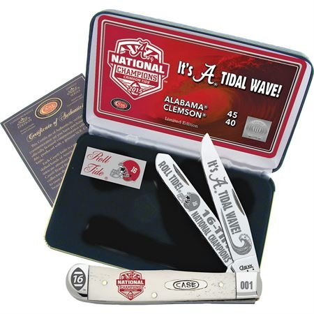 Case Cutlery AL15-CATWSB 2015 Alabama Football National Championship Case White Smooth Bone Trapper Gift Set