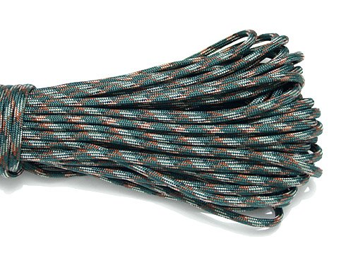 PS048 Dark Blackish Green Camo New Paracord 550 Paracord Parachute Cord Lanyard Rope Mil Spec Type III 7 Strand 100 FT