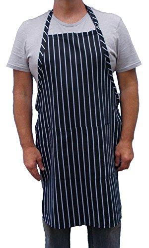 Chalk Stripe Bib Apron with Pockets and Adjustable Neck Strap