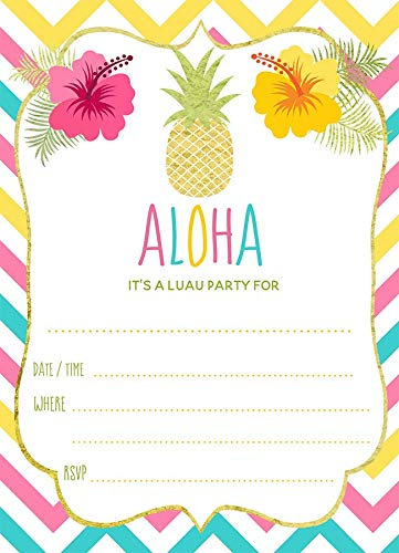 Luau Party Invitations Aloha Fill In The Blank Invites Pineapple Summer Party Pool Swim Fourth of July Summertime Baby Shower Birthday Party Tropical Hawaiian Tropical Flowers Chevron Stripes(24 Pack)