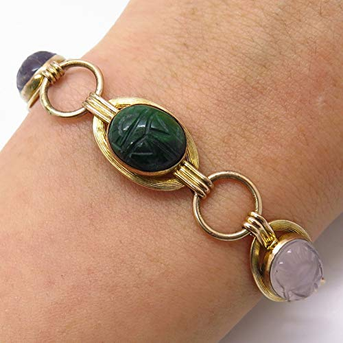 Gold Filled 10K Scarab Carved Multi-Color Gemstone Infinity Link Bracelet 6.5
