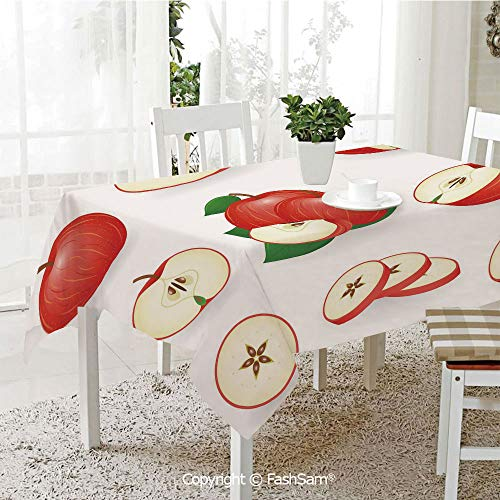 AmaUncle 3D Print Table Cloths Cover Yummy Chopped Slices Juicy Fresh Fruits Delicious Nature Illustration Resistant Table Toppers (W60 xL84)]()