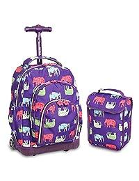 J World New York Lollipop Kids Rolling Backpack Lunch Bag Wheel, Elephant