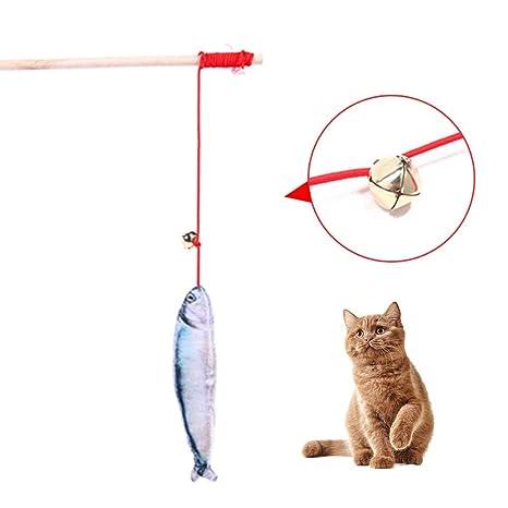 Juguete de Caña de Pescar para Gatos Masticar Catnip Palos Naturales Dientes que Muelen Juguetes para ...