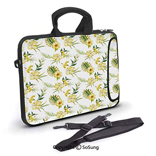 - 17 inch Laptop Case,Hibiscus Flora Pattern Hawaii Plants with Leaves Jungle Summer Foliage Neoprene Laptop Shoulder Bag Sleeve Case with Handle and Carrying & External Side Pocket,for Netbook/MacBook