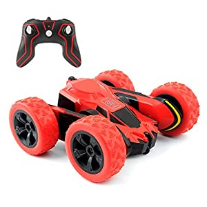 Rimila Electric RC Stunt Cars 2WD Off Road Remote Control Vehicles 2.4GHz Racing Vehicle LED Headlights Extreme High Speed 7.5MPH 360 Degree Rolling Rotating Rotation(Battery Not Included) (Red) (Red)