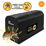 P PURNEAT Electronic Rat Trap, Mouse Rodent Traps Electronic,High Voltage Emitting,Effective and Powerful Killer for Rat,Squirrels Mice and Similar Rodent【2018 Upgraded】 (1pcs,Black)