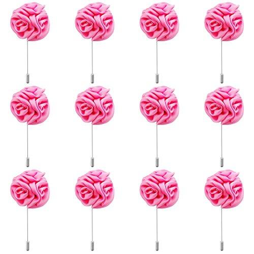 (RareLove 12pcs White Lapel Pin Rose Wedding Boutonniere Set for Men Flower (Pink))