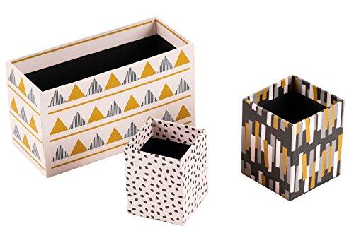 ck Cute Pen Holder, Makeup Brush Organizer, Home and Office Desk Supplies Organizer, Cardboard, 3 Assorted Sizes, 3 Geometric Art Designs ()
