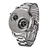Yuaboz.H Mens Stainless Steel Date Military Sport Silvery Quartz Analog Wrist Watch Cool Design
