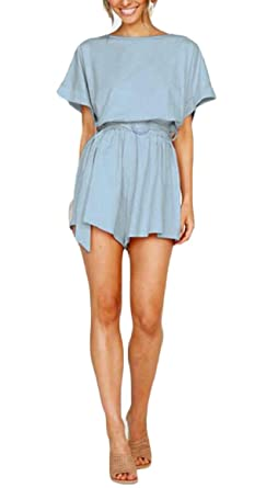 4f711b991eb Amazon.com  HTOOHTOOH Womens Casual Short Sleeve Solid Color Sexy Jumpsuit  Romper with Belt  Clothing
