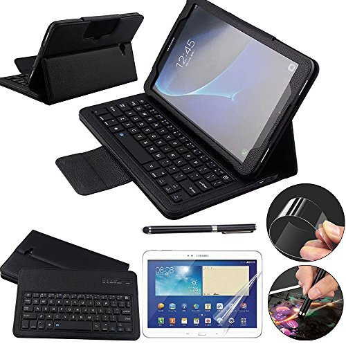 Galaxy Tab A 10.1 Keyboard Case with Screen Protector & Stylus, REAL-EAGLE Slim Separable Fit PU Leather Case Cover Bluetooth Keyboard For Tab A 10.1 Inch SM-T580 T580N T585 T585N,Black