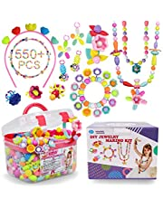 Pop Beads - 550pcs+ DIY Snap Jewelry Making Kit Arts and Crafts Girls Toys Birthday for 3 4 5 6 7 8 Years Old Toddlers Kids Necklaces Bracelets Headbands Rings