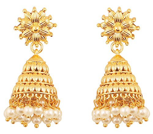 Earrings Indian Designer (Touchstone Indian Bollywood Bahubali Fame Ethnic Royal Charm Designer Jewelry Chandelier Earrings Hung with Faux Pearls in Gold for Women in Gold Tone.)