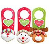 BESTOYARD 3Pcs Christmas Decoration Door Ornament Hanging Ornament Santa Claus Reindeer Snowman Holiday Decoration