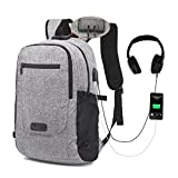 MUMAREN Travel Laptop Backpack, Business Laptop Backpack School Backpack with USB&Audio Port Large Capacity Water Repellent Anti-Theft.Fits 15.6 inch Laptop/Notebook/Tablet. (Grey)
