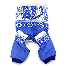 SELMAI Pet Clothes Snowflake Print Fleece Hoodie Coat Four-leg Jumpsuit Winter for Small Dog Cat Puppy Blue XS