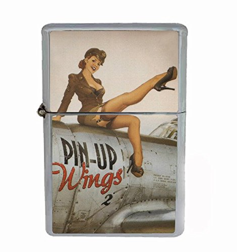 Flip Top Lighter (Pinup Wings Sexy Girl WWII Vintage Flip Top Oil Cigarette Lighter)