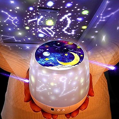 3 colores Star Projector Lights Luces de noche para ni/ños Star Night Light Regalos de Navidad para ni/ños