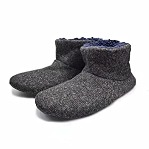 Q-Plus Knit Rock Wool Warm Men Indoor Pull on Cozy Memory Foam Slipper Boots with Soft Rubber Sole