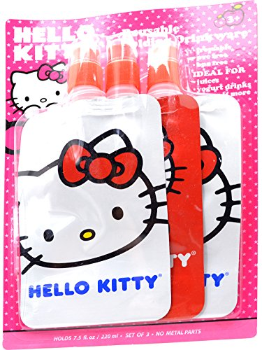 Hello Kitty Reusable Folding Drinkware Bottle Red & White (1 Pack of -
