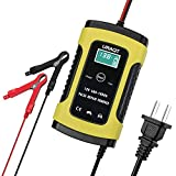 6A 12V Car Battery Charger Maintainer, URAQT Automatic Battery Maintainer with LCD Screen for Car Truck Motorcycle and More