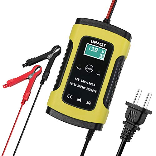 6A 12V Car Battery Charger Maintainer, URAQT Automatic Battery Maintainer with LCD Screen for Car Truck Motorcycle and More (6 Amp 12 Volt Automatic Battery Charger)