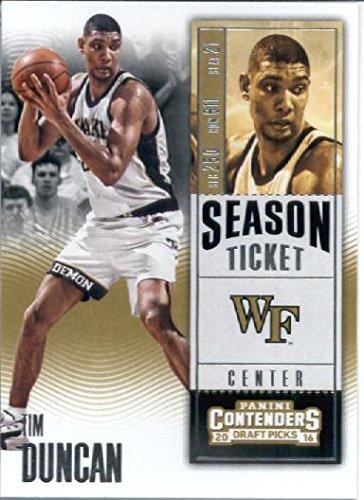 2016-17 Panini Contenders Draft Picks #90 Tim Duncan Wake Forest Demon Deacons Basketball Card in Protective Screwdown Display Case