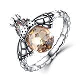 Bamoer Sterling Silver Queen Bee with Clear Cubic Zircon Stacking Band Ring,Size 6 to 8