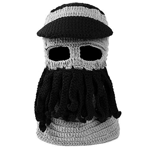 VBIGER Beard Hat Beanie Hat Knit Hat Winter Warm Octopus Hat Windproof Funny For Men & Women (Grey+Black)