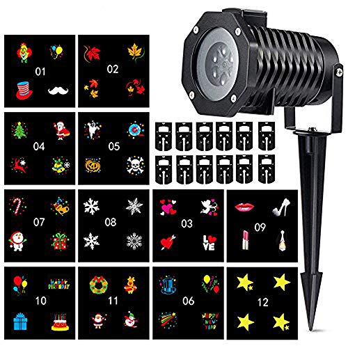 ENUOLI LED Projector Lights, 12PCS Switchable Pattern Gobos Slides Waterproof Sparkling Landscape Projection Light for Decoration Lighting on Christmas Halloween Holiday Party Home Decor ()