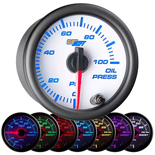 GlowShift White 7 Color 100 PSI Oil Pressure Gauge Kit - Includes Electronic Sensor - White Dial - Clear Lens - for Car & Truck - 2-1/16
