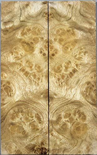 X.MU.JU Wood Shop:Bookmatch Wood Knife Handle Scales Craft Wood Supply (Golden Camphor Burl) ()