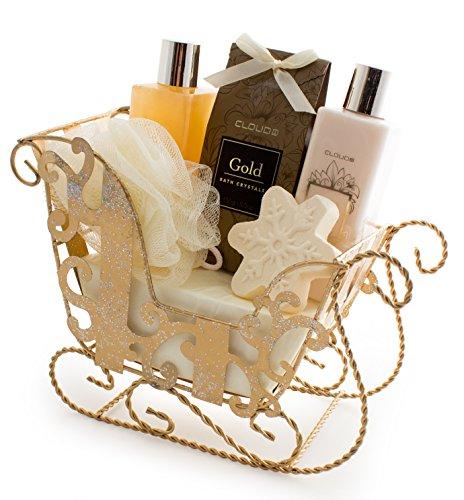 BRUBAKER 6 Pcs Gift Set 'Vanilla' Beauty Spa Set With Golden Sled, Bath Fizzer, Shower Gel, Body Lotion, Bath Crystals, Sponge