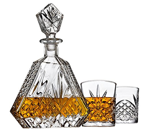 Brandy Set - Whiskey Decanter set for Liquor Scotch Bourbon or Wine, Includes 2 DOF whisky glasses - Irish Cut Triangular