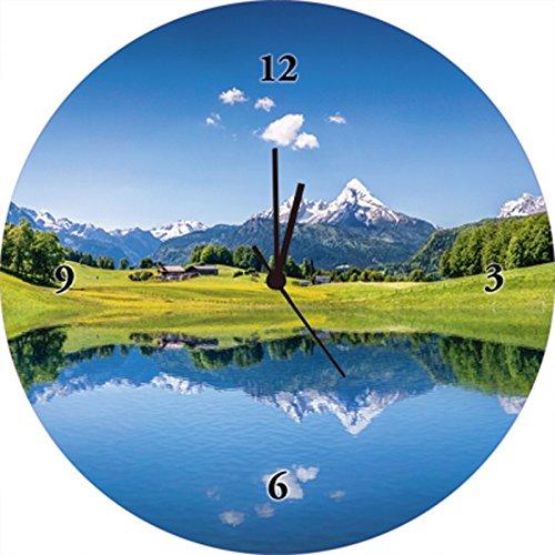 Artland Qualitätsuhren I Funk Wanduhr Designer Uhr Glas Funkuhr Größe: 35 Ø Berge Blau H8HM